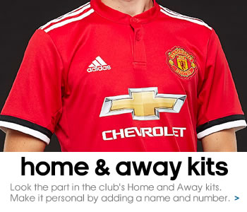 Manchester United home and away shirts