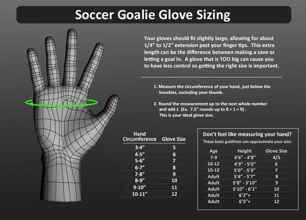 Goalkeeper Glove Size Chart